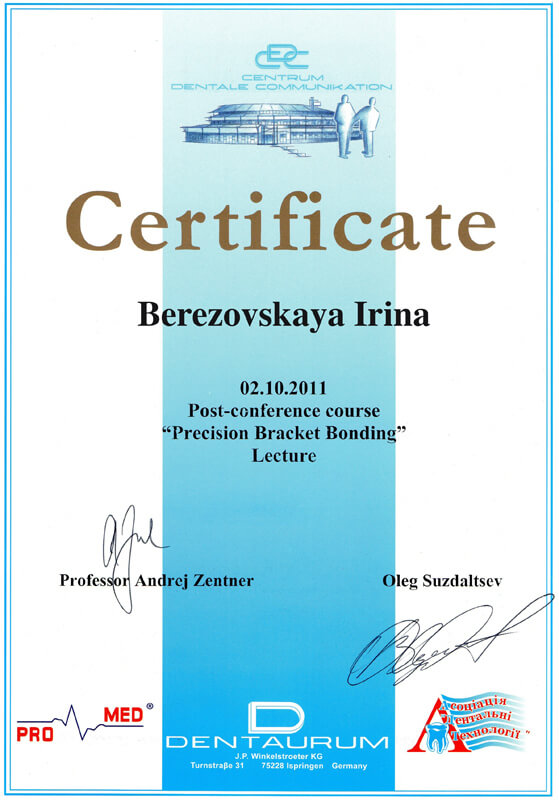 "Certificate - post-conference course ""Precision Bracket Bonding"""